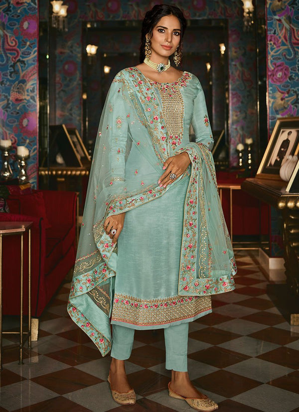 Light Blue Tussar Silk Straight Suit