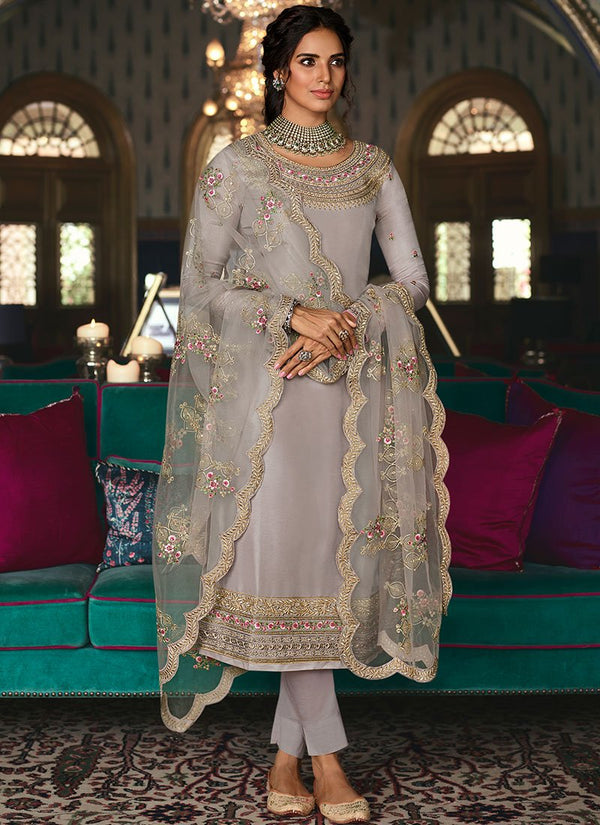 Dusty Lavender  Tussar Silk Straight Suit