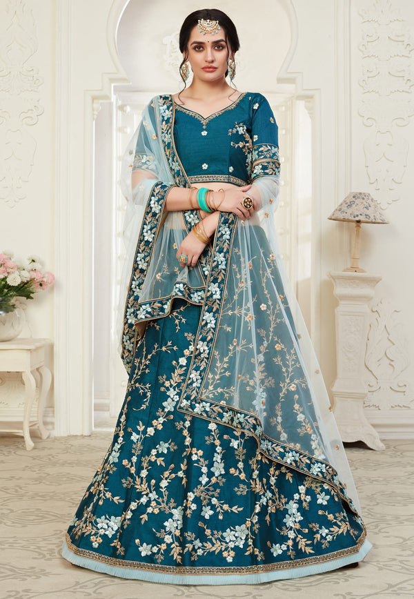 Blue Net Party Wear Lehenga Choli