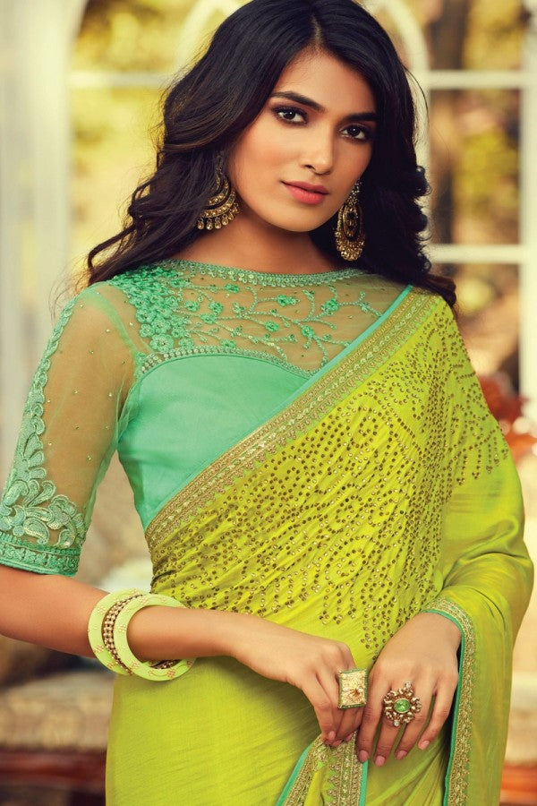 Green Navratna Silk Designer Saree
