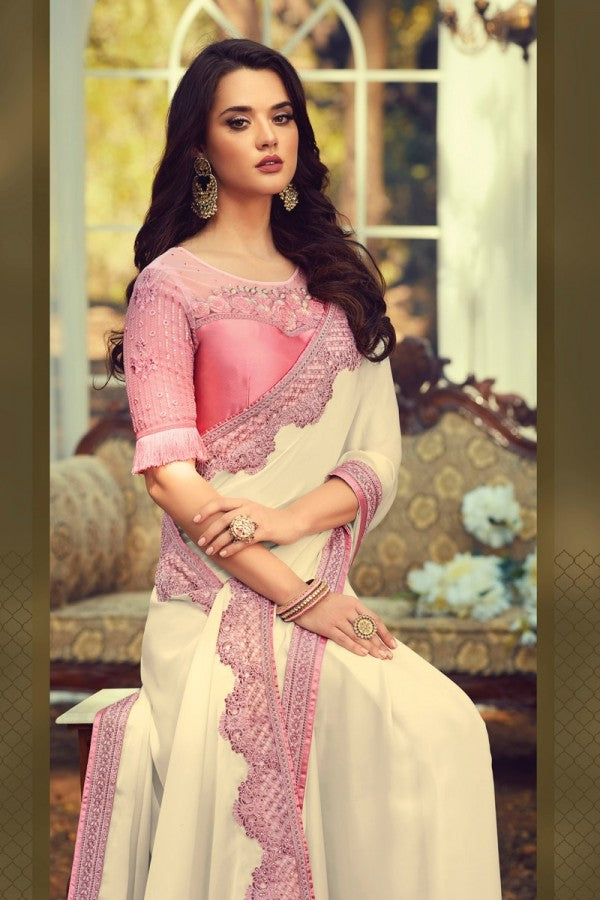 Off white And Pink Sunlight Silk Designer Saree