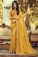 Mustard Yellow Navratna Silk Designer Saree