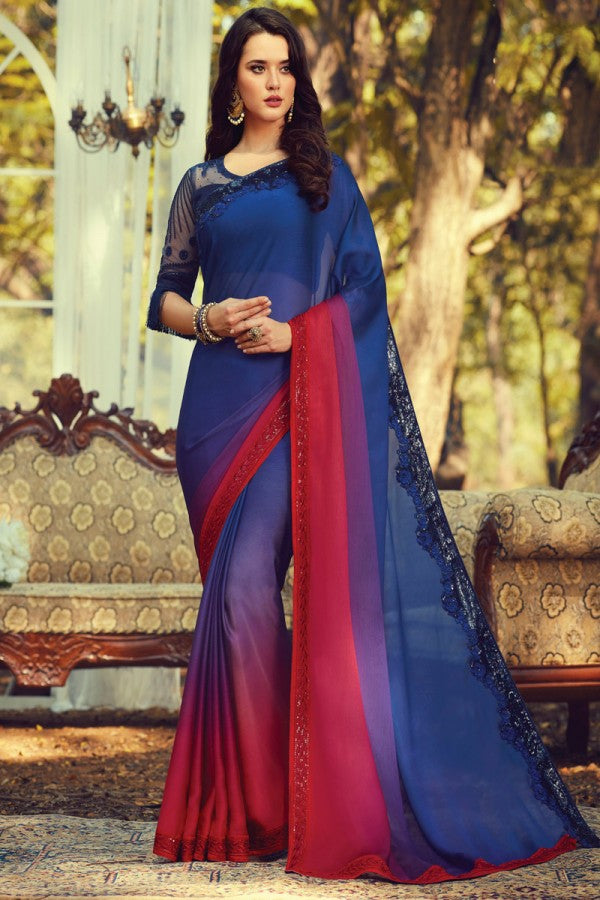 Navy Blue  Burberry Silk Designer Saree