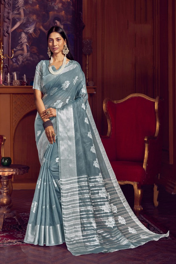 Grey Linen Saree