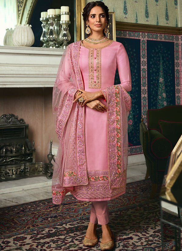 Pink  Tussar Silk Straight Suit