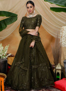 Olive Net Lehenga Choli With Net Dupatta