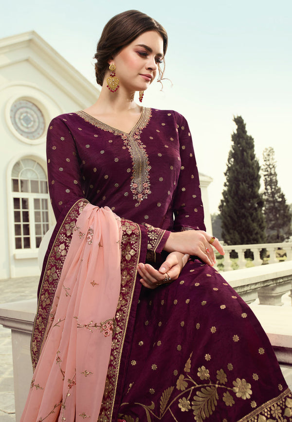 Purple Viscose Embroidery Work Palazzo Suit