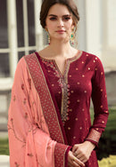 Maroon Viscose Embroidery Work Palazzo Suit