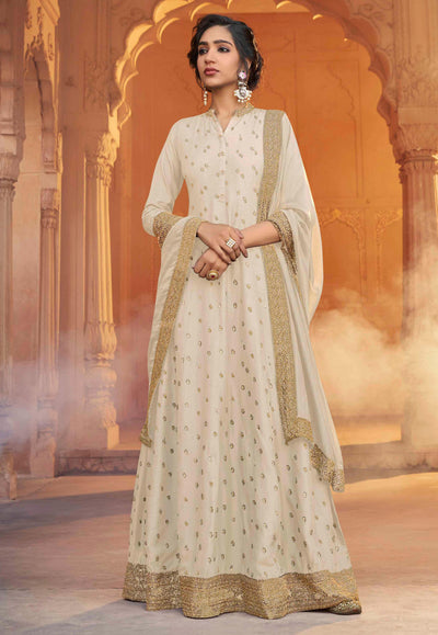Off White Silk Embroidered Work Long Anarkali Suit