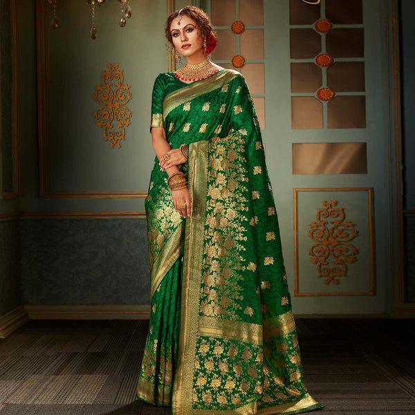 Green Banarasi Woven Work Silk Saree