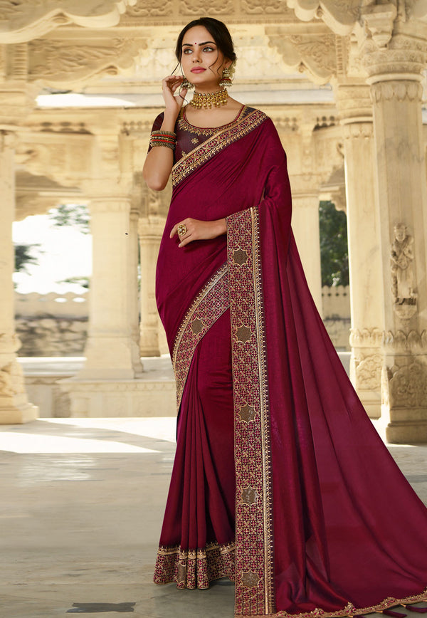 Magenta Silk Party Wear Saree