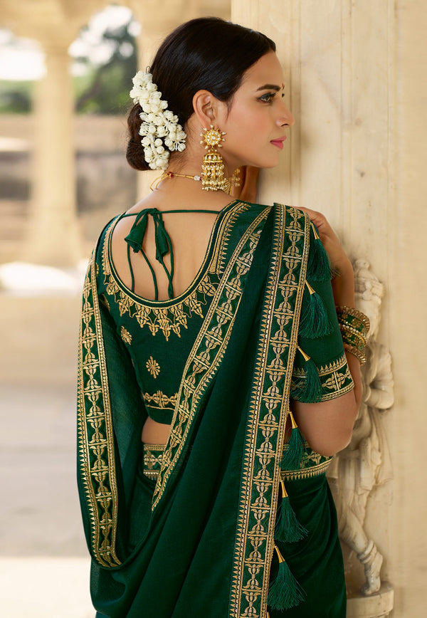 Green Silk Party Wear Saree