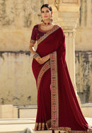 Maroon Silk Party Wear Saree