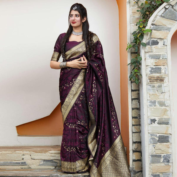 Dark Purple Banarasi Silk Saree