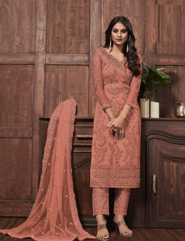 Orange Butterfly Net Designer Salwar Suit