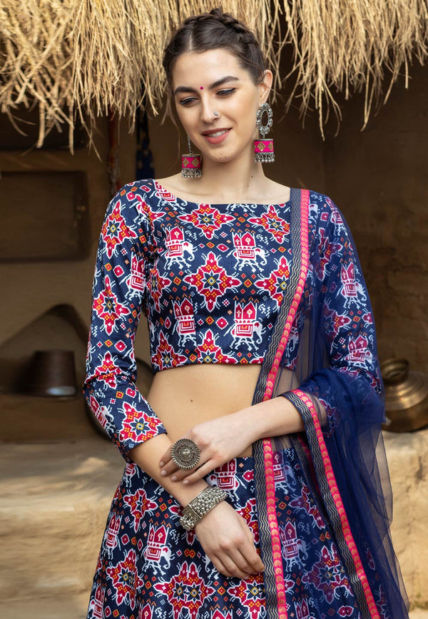 Blue Art Silk Lehenga Choli