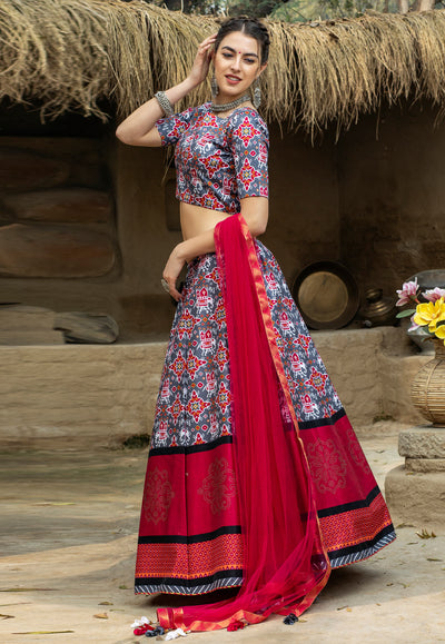 Grey And Magenta Art Silk Lehenga Choli