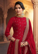 Red Silk Embroidered Work Long Anarkali Suit