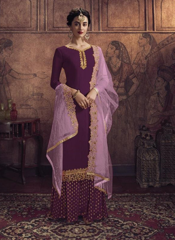 Purple Georgette Salwar Suit