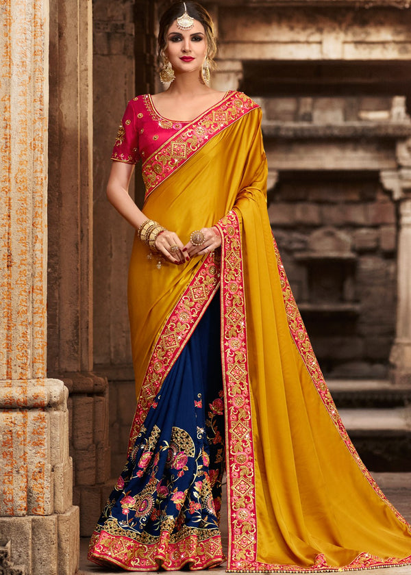Blue & Yellow Art Silk Saree
