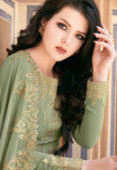 Sea Green Georgette Embroideried Long Anarkali Suit