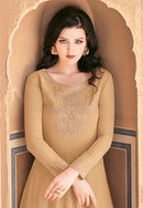 Beige Georgette Embroideried Long Anarkali Suit