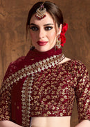 Maroon Raw Silk Wedding Lehenga Choli