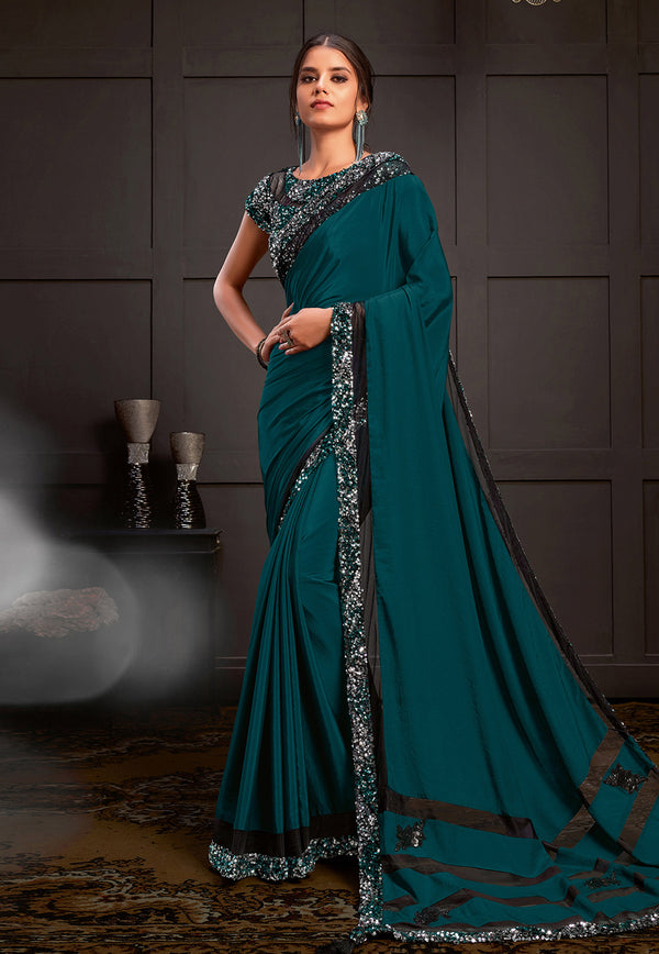 Teal Blue Silk Georgette  Designer Saree