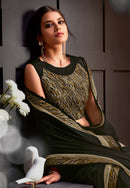 Black Satin Georgette  Designer Saree