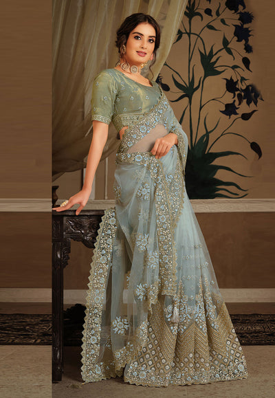 Sky Blue Net Festival Wear Saree