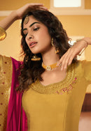 Mustard Yellow Satin Georgette Embroidered Palazzo Suit
