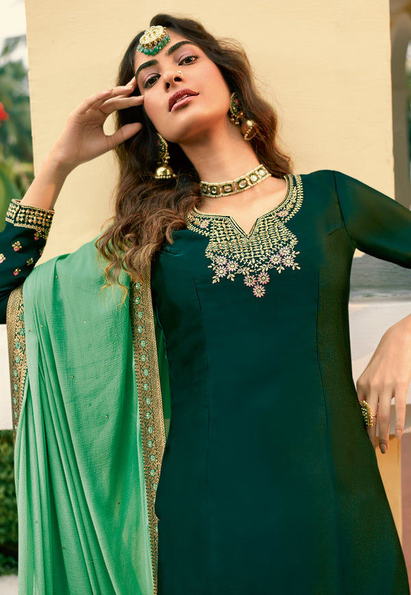 Green Satin Georgette Embroidered Palazzo Suit