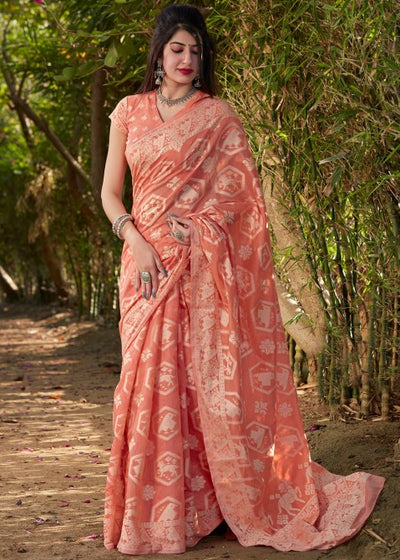 Orange Cotton Silk Printed Saree