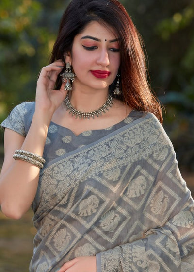 Grey Cotton Silk Printed Saree