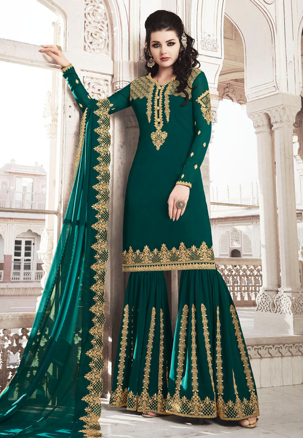 Teal Green Georgette Embroidered Work Sharara Suit