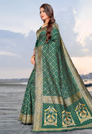 Green Banarasi Silk Festival Wear Saree
