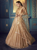 Peach Net Festival Wear Lehenga Choli