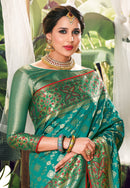 Sea Green Silk Designer Saree