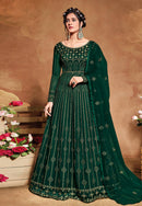 Green Net Embroideried Work Anarkali Suit