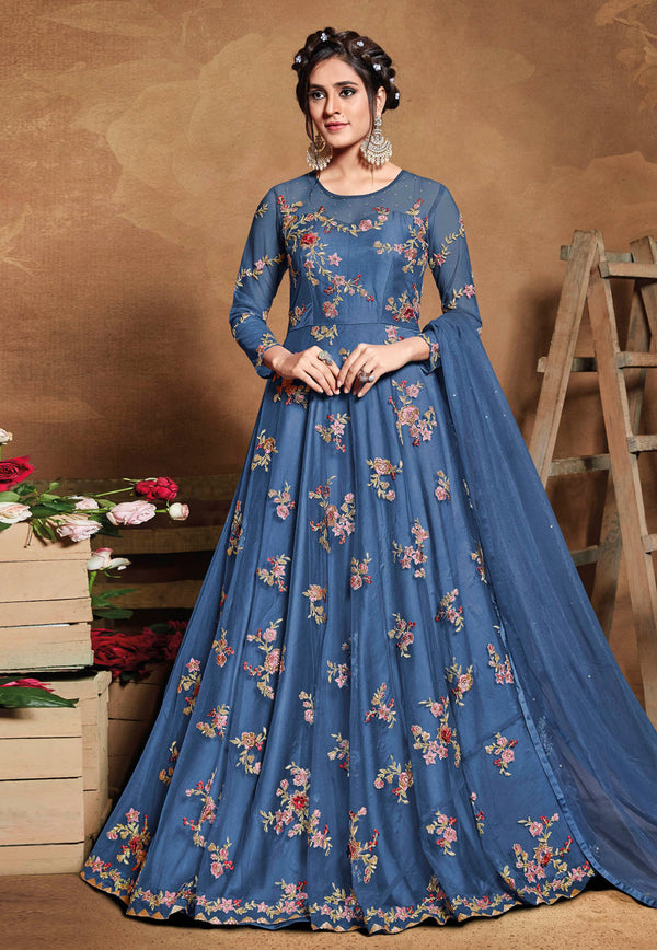Blue Net Embroideried Work Long Anarkali Suit