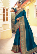 Blue Silk Designer  Saree