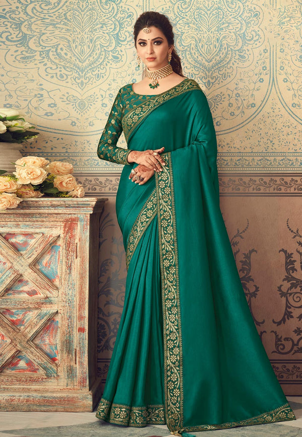 Green Vichitra Silk Designer Saree