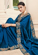 Royal Blue Satin Silk Designer Saree