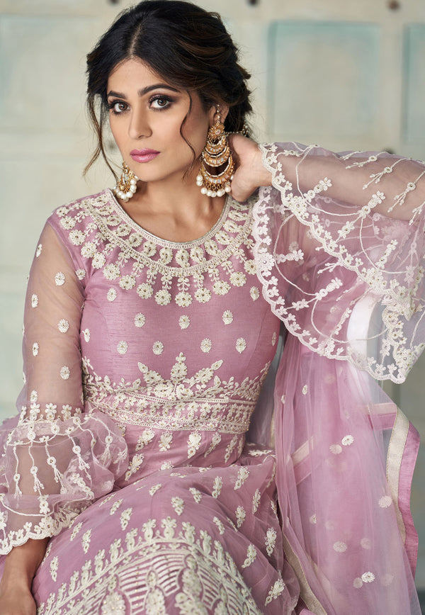 Pink Net Sharara Suit