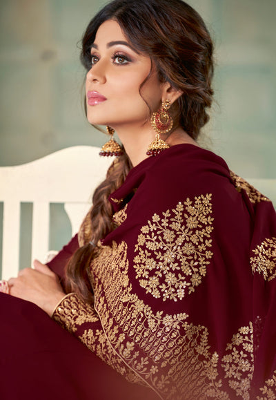 Maroon Georgette Embroidered Anarkali Suit
