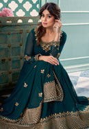 Teal Green Georgette Embroidered Anarkali Suit