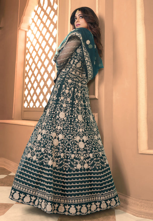 Teal Green Net Embroidered Work  Anarkali Suit