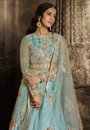 Sky Blue Net Floor Length Anarkali Suit