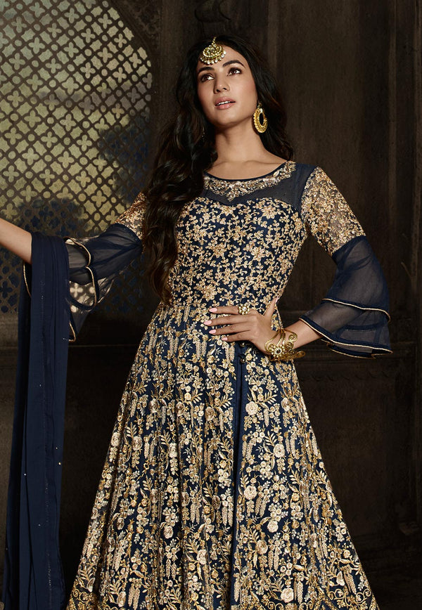 Navy Blue Net Floor Length Anarkali Suit
