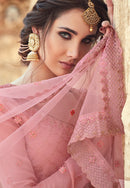 Pink Georgette Embroideried Work Palazzo Suit
